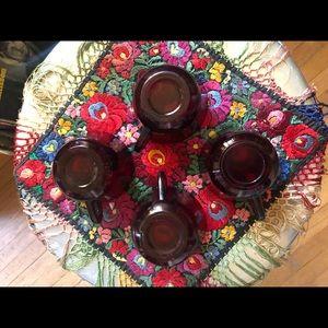 Vintage Kitchen - Set 4 Depression Era Blood Red Coffee Mugs